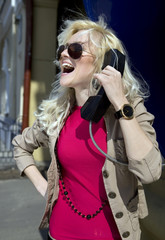 woman with phone handset