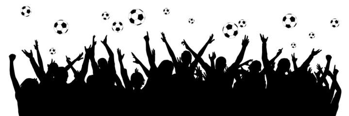 Fußballfans - Silhouette - Schattenriss
