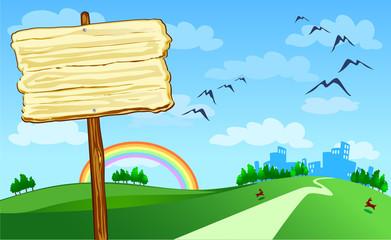Cartello in legno e panorama