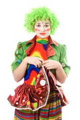 Portrait of a sad female clown