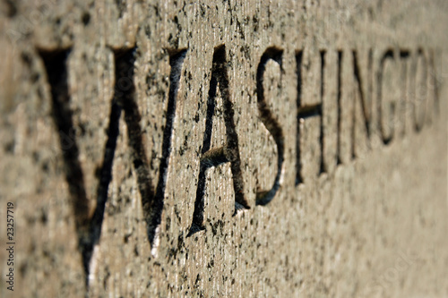 Washington sign on World War II memorial in DC