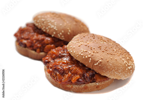 two vegetarian sloppy joes on white