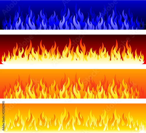 Vector fire banners