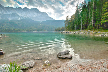 HDR Image of Zugspitze in the german Alps and Eibsee