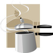 Illustration of pressure cooker in black handle
