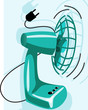 Illustration of green colour table fan with plug
