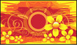 Floral  and wave designs  in yellow   background