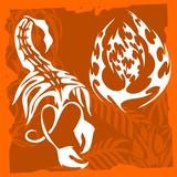 Scorpio and thorns.Skulls & Vegetation . poster