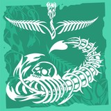 Scorpio and bone.Skulls & Vegetation . poster
