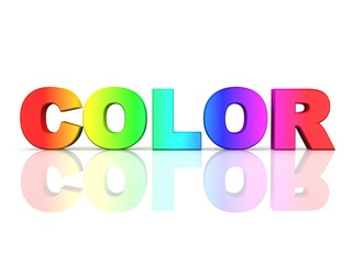 the word COLOR in rainbow colors