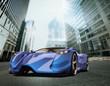 blu concept car in a modern city background