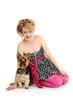 sitzende Frau mit Hund