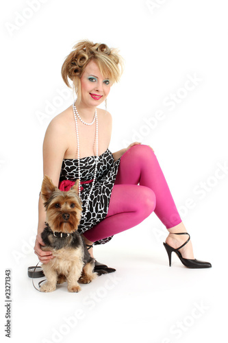 sexy Frau mit Hund
