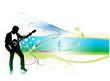 silhouette music men play a guitar