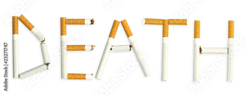 "A word ""death"", made of cigarettes"