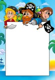 Frame with three cartoon pirates-