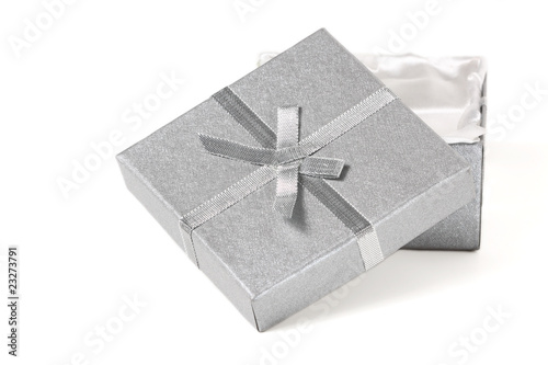 silver gift box and bow