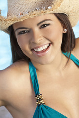 Beautiful Happy Latina Hispanic Woman in Bikini & Cowboy Hat
