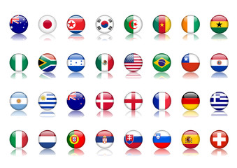 Flag Buttons (football soccer world cup global south africa)