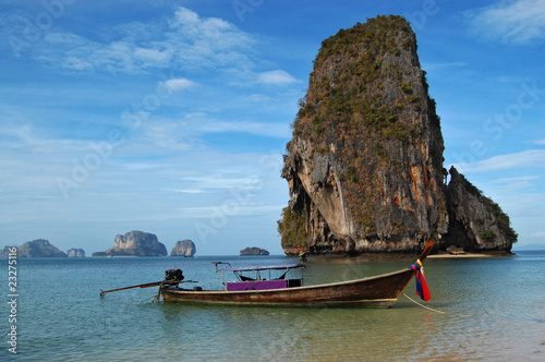 Longtail boat and beautiful carst formations, Thailand