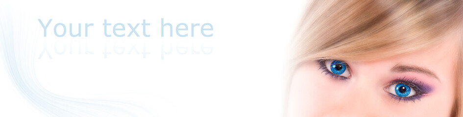 yeux bleus de femme - panneau texte