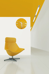 orange toned interior with moder chair and clock