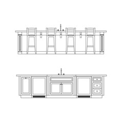 kitchen line drawing