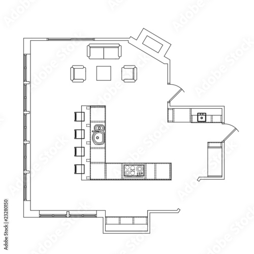 Line Drawing Kitchen : Vector kitchen line drawing