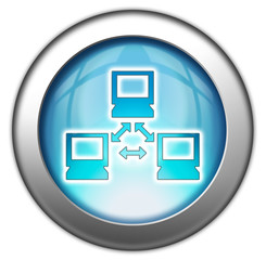 "Glossy 3D effect button ""Computer Network"""