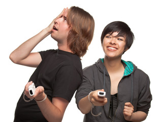 Fun Diverse Couple Playing Video Game