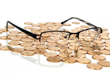 coins with glasses