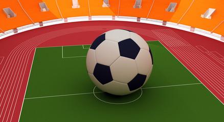 """Grande Pallone al centro di uno stadio """"render"""""""