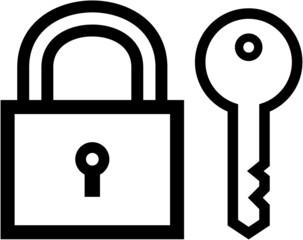 Padlock and key icon - vector illustration