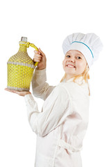 girl cook whith container