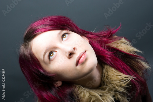 Emo look   girl with red hair
