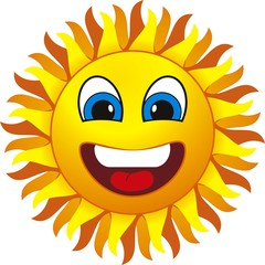 smiling sun. Isolated on withe background