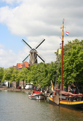 Dutch Canal and Windmill
