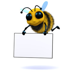 3d Bee holds blank sign