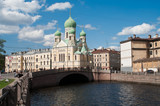 Sightseeing of Saint-Petersburg, Russia. Church and bridge poster