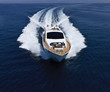 Italy, Tirrenian sea, off the coast of Viareggio, luxury yacht