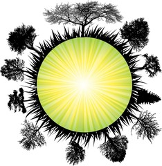 solar earth tree. Vector
