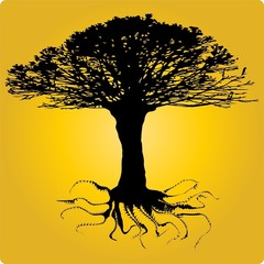 Tree of a twisting root. Vector
