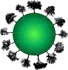 tree planet green. Vector