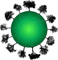 tree planet green. Vector