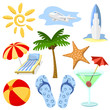 Summer and travel symbols vector set in cartoon style.