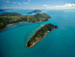 Aerial view of the lush Whitsunday Islands