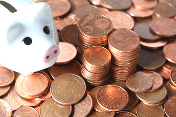 Kleingeld mit Sparschwein