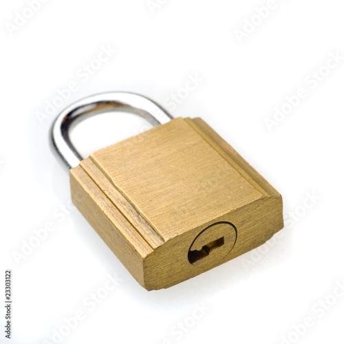 Padlock, white background.