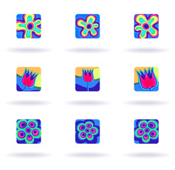 Flowers, set of nine colorful icons