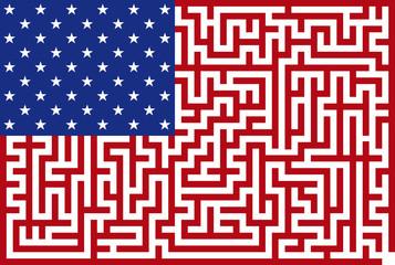 Conceptual Vector illustration of american maze flag